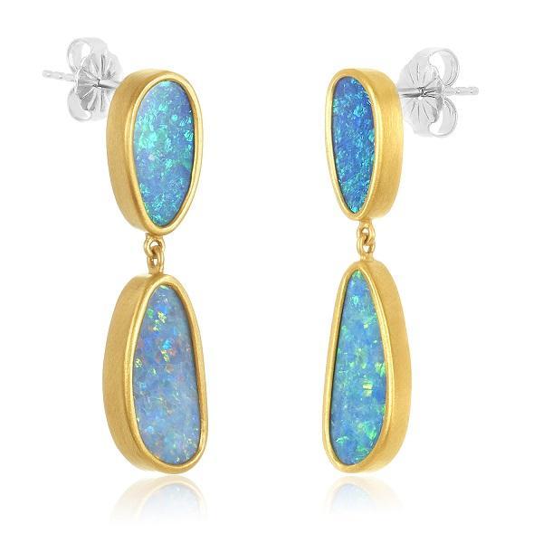22 Karat Gold Wrapped Miss-Match Opal Earrings