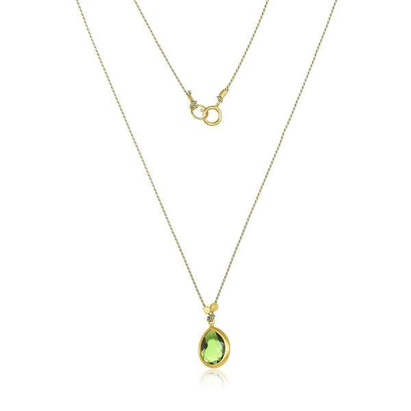 22 Karat Gold Wrapped Green Tourmaline on Silk Cord