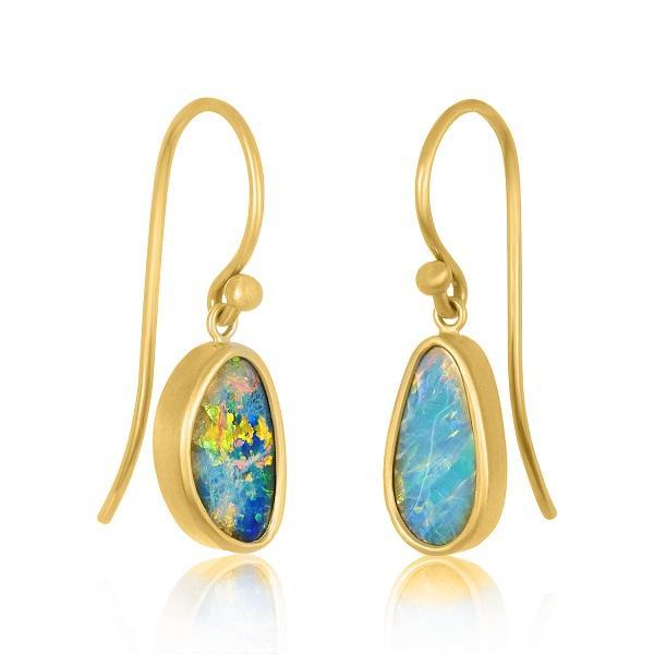 22 Karat Gold Miss-Match Australian Opal Earrings