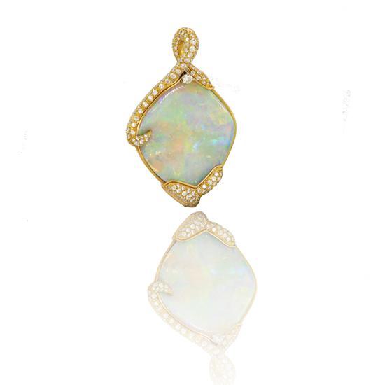 22 Karat Gold Australian Opal and Platinum Pave Diamonds Pendant