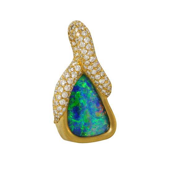 22k pave opal pendant 4 ctw 1