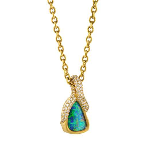 22k pave opal pendant 4 ctw front 1
