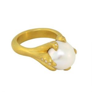 22 Karat Gold Free-Form South Sea Freshwater Pearl and Pave Diamond Ring