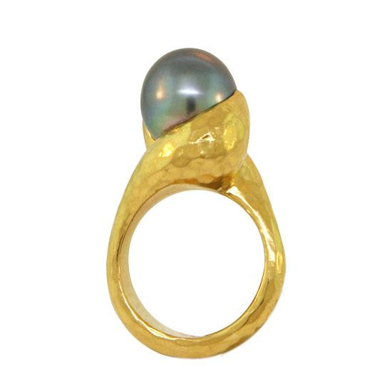18k Gold Textured Two Yellow Gold One Rose Gold Ring
