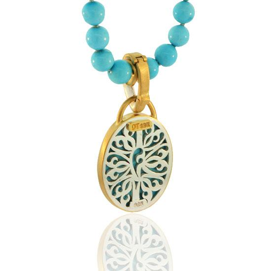 Sleeping Beauty Turquoise Beads with 22 Karat Gold & Silver Turquoise Pendant Necklace