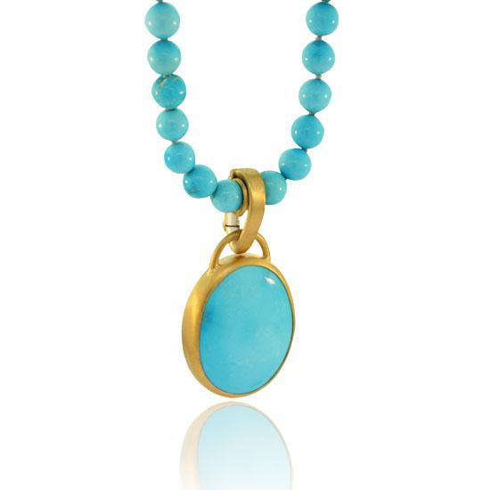 22K Gold & Turquoise Pendant on Sterling Silver Chain - Small