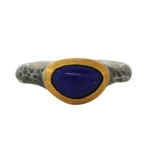 22 Karat Gold and Antiqued Sterling Silver Hammered Lapis Triangle Ring