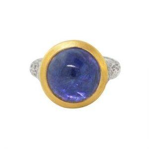 22 Karat Gold and Sterling Silver Hammered Tanzanite Ring