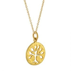 22K GOLD HAMMERED TREE OF LIFE CHARM ON GOLD CHAIN