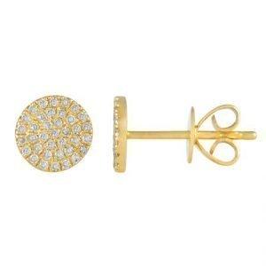 14 Karat Gold Micro-Pave Diamond Circle Stud Earrings, 7mm