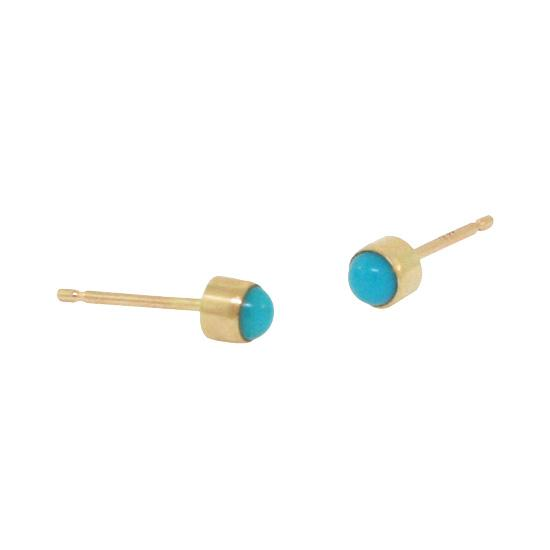 3mm 14k yellow gold turquoise studs