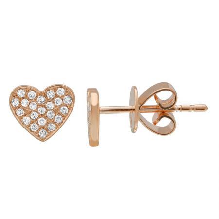 14 Karat Gold Micro-Pave Diamond Heart Stud Earrings