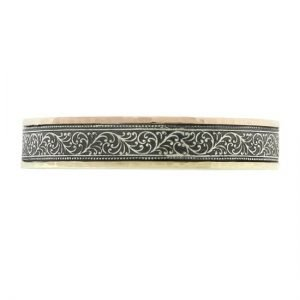 14 Karat Gold and Silver Antiqued Vine Edge Bangle Bracelet 12mm