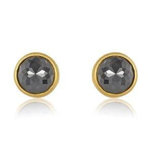 22 Karat Gold Wrapped Rose-Cut Gray Diamonds Stud Earrings Side