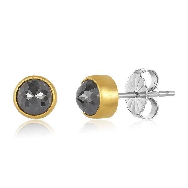22K GOLD WRAPPED ROSE-CUT GRAY DIAMOND STUD EARRINGS
