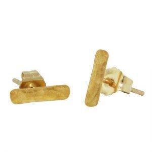 22 Karat Hammered Bar Stud Earrings 6mm