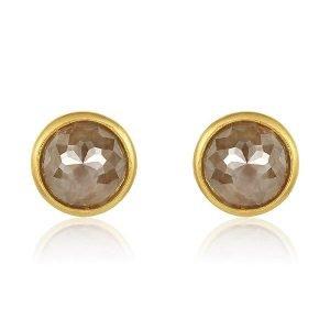 22 Karat Gold Wrapped Rose-Cut Brown Diamond Stud Earrings