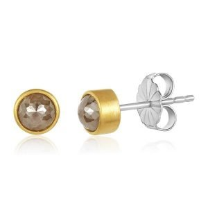 22K Gold Wrapped Rose-Cut Brown Diamond Stud Earrings