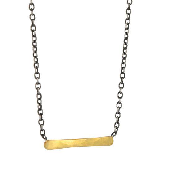 22 Karat Gold Medium Bar Pendant on Sterling Silver Chain