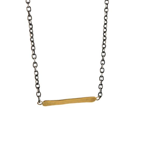 22 Karat Gold Thin Bar Pendant on Sterling Silver Chain