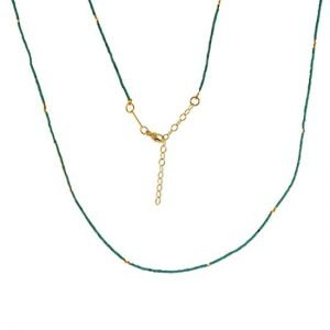 Turquoise and 22k Gold-Plated Silver Bead Necklace