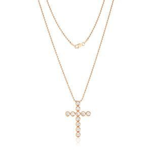 14K Rose Gold 11 Bezel Set Diamonds 1.5CT Cross Necklace And Chain With Lobster Clasp