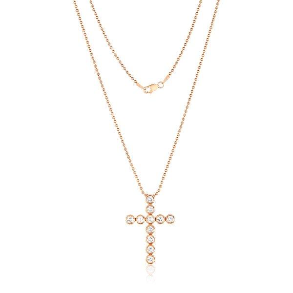 14 Karat Gold Bezel Diamonds Cross Necklace