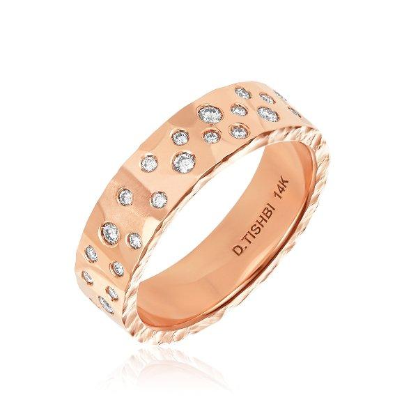 14K Rose Gold Sparkling Diamonds Ring 5MM