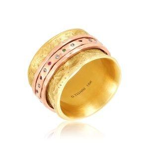 18 Karat Gold Rainbow Spinner Ring