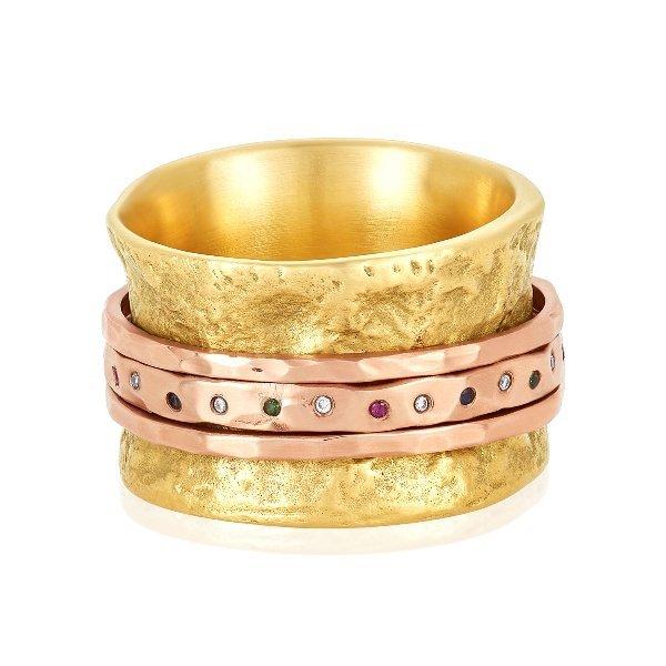 18K Yellow Gold Rainbow Rose Gold Spinner Ring Flat
