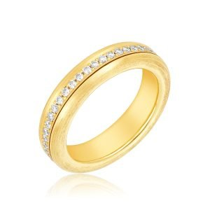 18KY Gold Diamond Spinner Eternity Ring Upright View