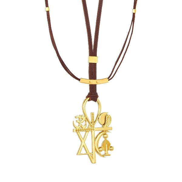 18KY Gold Multi Religion Necklace On Brown Leather