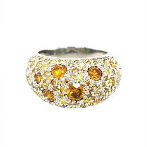 18 Karat Gold Yellow Diamond Cocktail Ring
