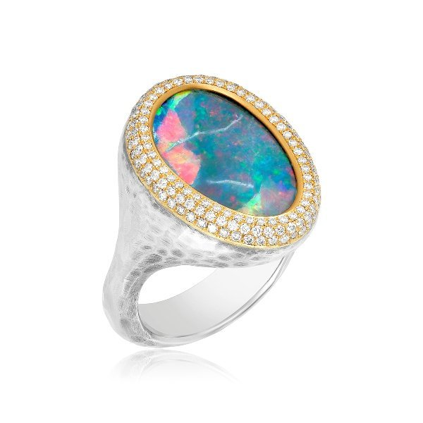 22K 925 Free Form Opal Pave Diamond Cocktail Ring One Of A Kind Upright