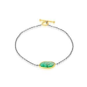 22K 925 Gold Wrapped 3CT Emerald Bracelet With Toggle Clasp