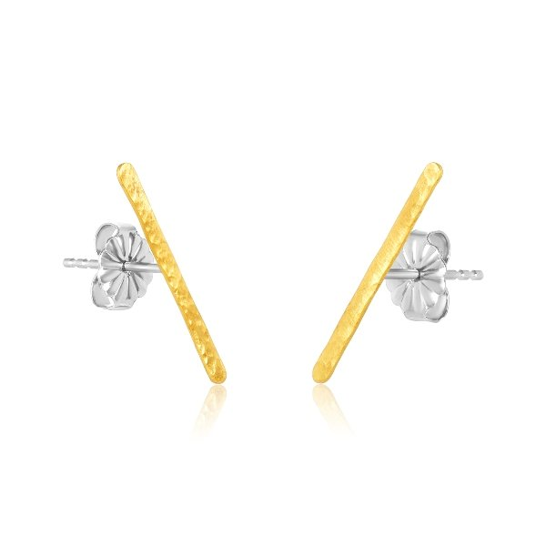 22K GOLD 19MM HAMMERED BAR STUD EARRINGS 1