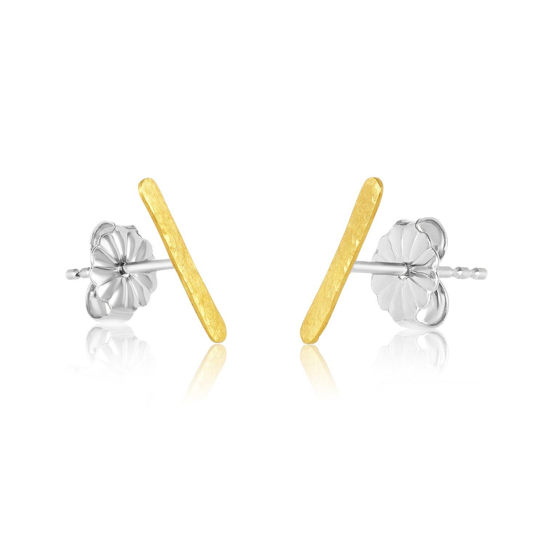 22K Gold 11MM Hammered Bar Stud Earrings