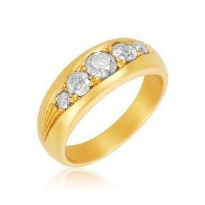 22K Gold 5 Gray 1 CTW Diamonds Ring