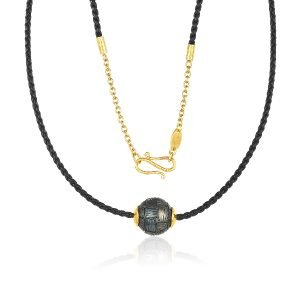 22K Gold Accents Carved 13MM Tahitian Pearl Necklace On Twisted Black Leather 1 2