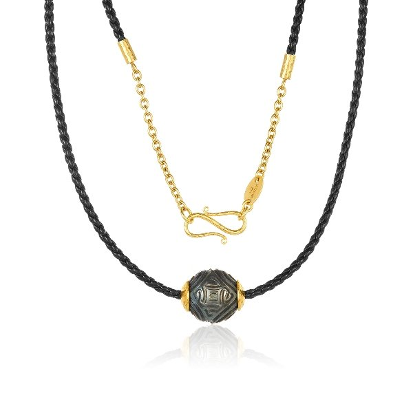 22K Gold Accents Carved 14MM Tahitian Pearl Necklace On Twisted Black Leather