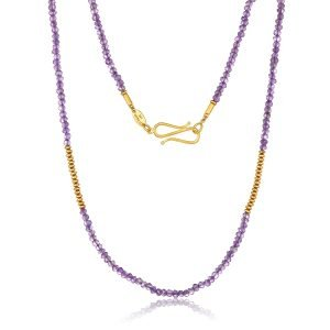 22K Gold Amethyst Bead Necklace And Infinity Clasp