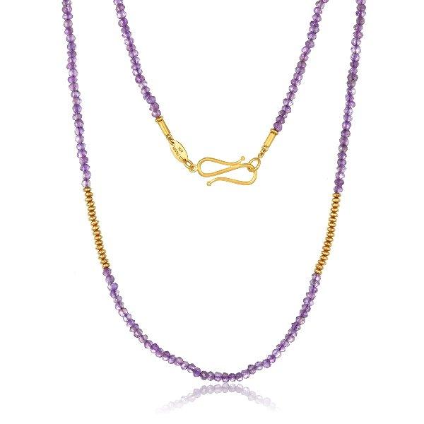 22 Karat Gold Amethyst Bead Necklace