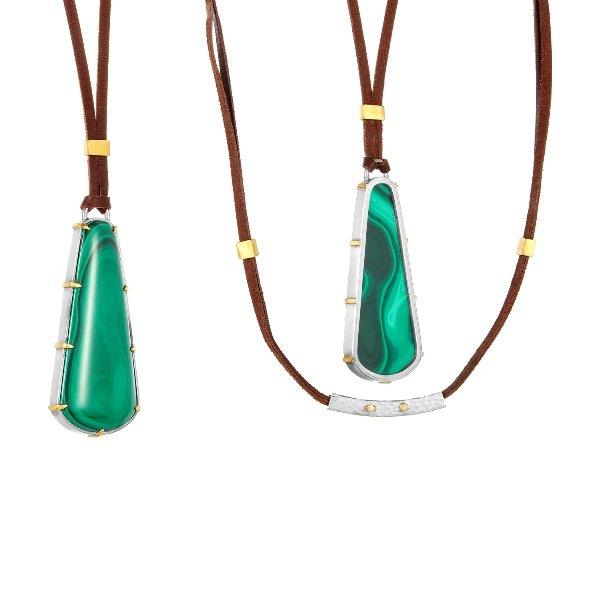 22 Karat Gold Claws Silver Framed Malachite Necklace