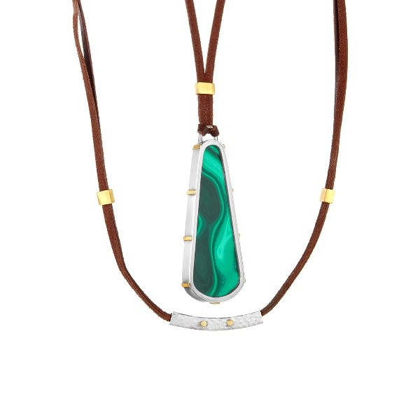 22K Gold Claws Silver Framed 100 CT Malachite Necklace Back