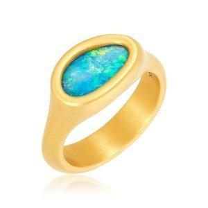 22 Karat Gold Free Form Opal Cocktail Ring