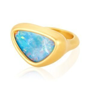 22K Gold Free Form 8 CTW Opal Cocktail Ring Flat View
