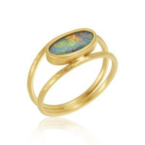 22K Gold Free Form Opal Open Ring