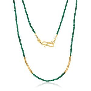 22K Gold Nephrite Bead Necklace And Infinity Clasp