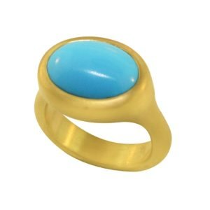 22K Gold Oval 5 CT Turquoise Cocktail Ring