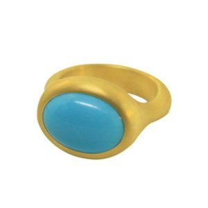 22 Karat Gold Sleeping Beauty Turquoise Cocktail Ring